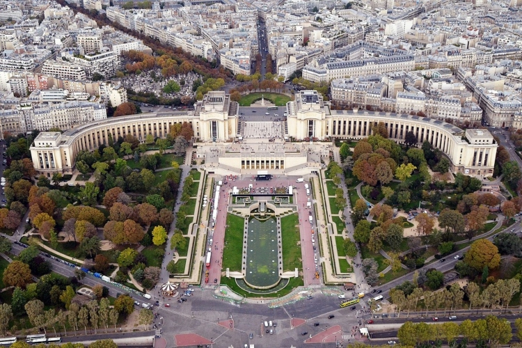 Looking down from the Eiffel Tower to the Palais de Chaillot in the 16th arrondissement of Paris