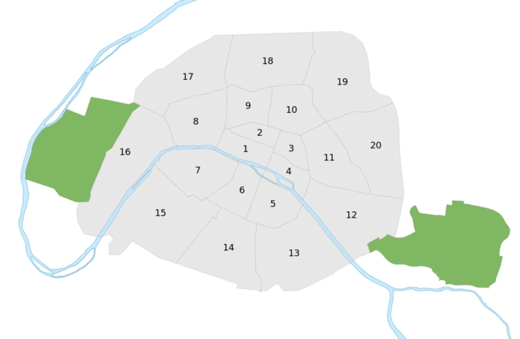 A map of the arrondissements in Paris