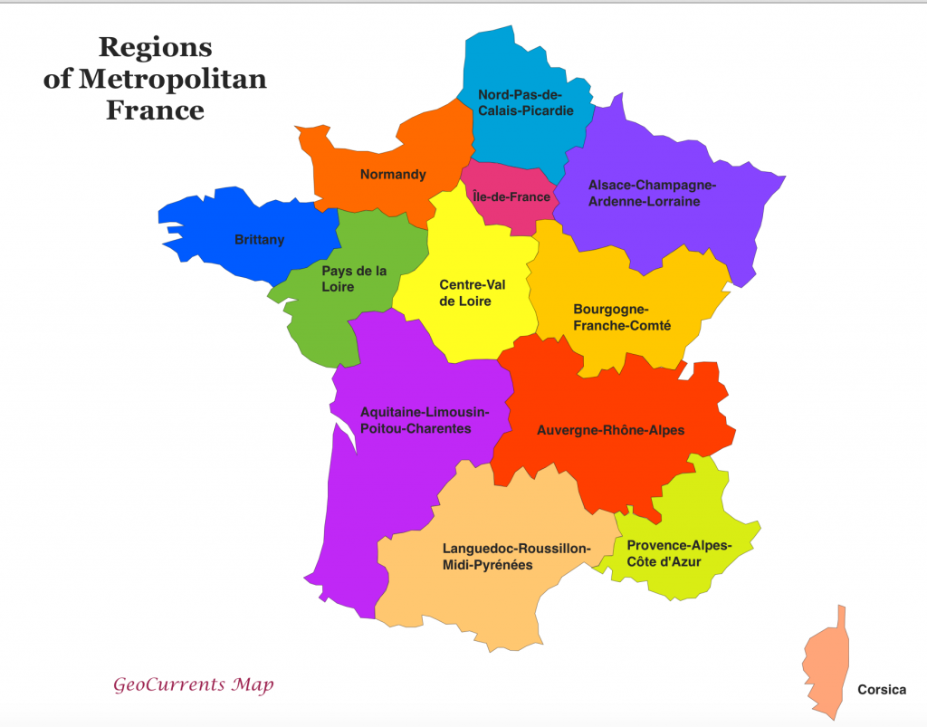 A Map of the Regions of Metropolitan France