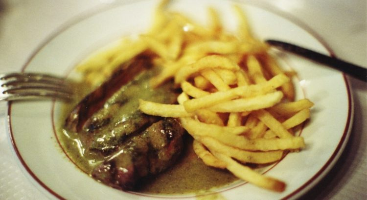 Steak frites, which are my all time favourite foods to eat in Paris