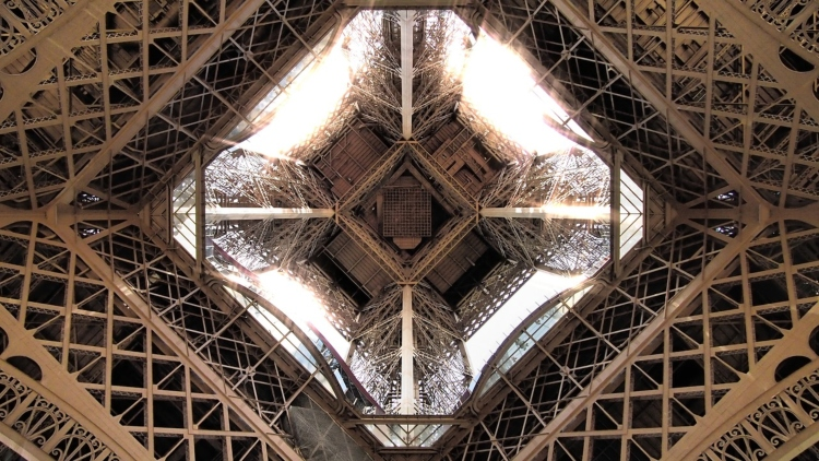 The view from underneath the Eiffel Tower, one of my favourite places for photographs