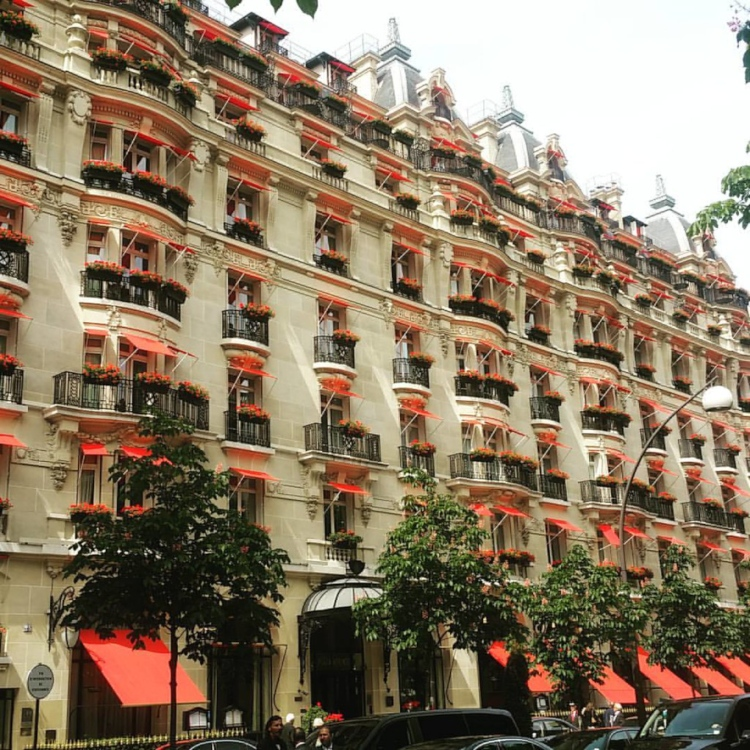 Hôtel Plaza Athénée, one of the luxury family friendly hotels in Paris with Eiffel Tower views.