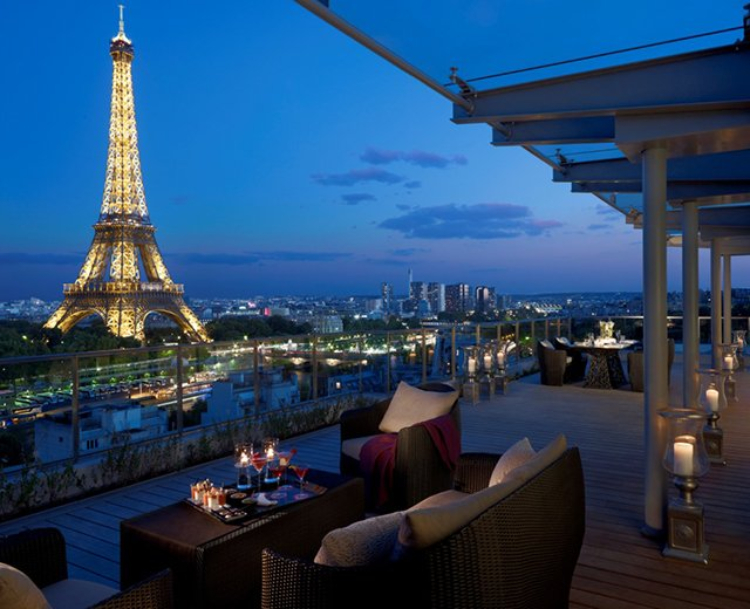 View of the Eiffel Tower from the Shangri-La Hotel Paris
