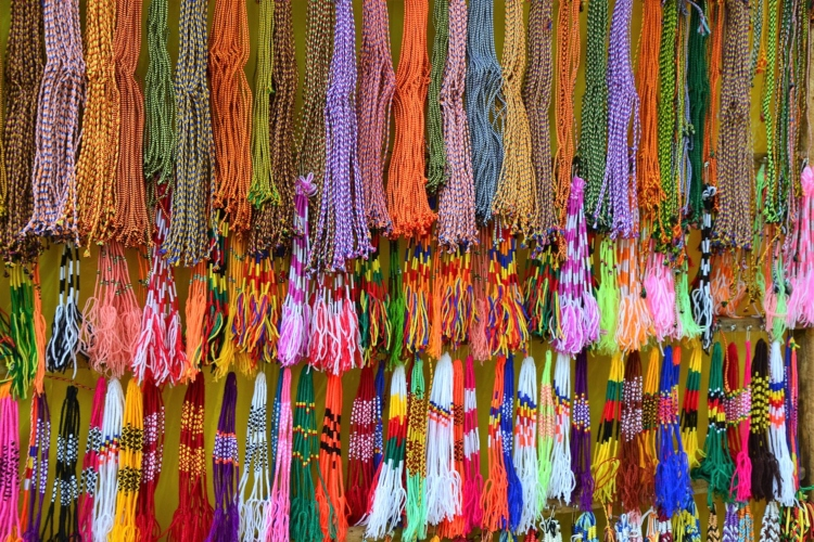A display of colourful bracelets