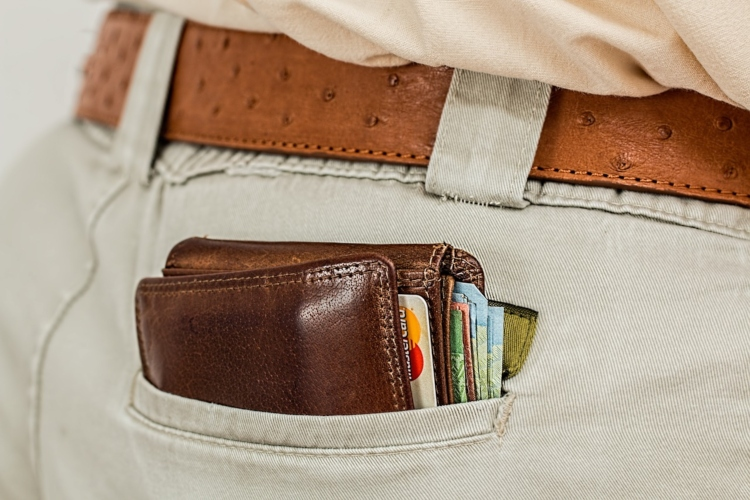 A wallet in a back pocket