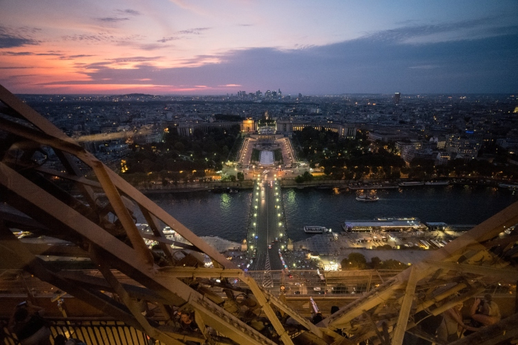 The view from Le Jules Verne, one of the restaurants inside the Eiffel Tower
