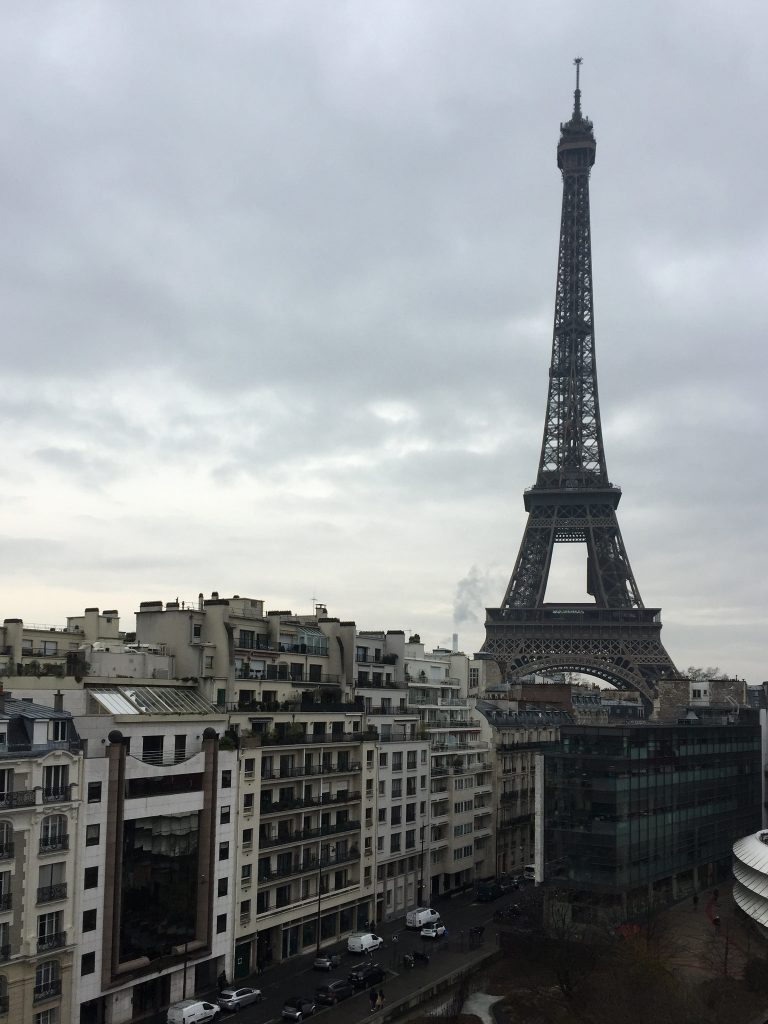 The view from Les Ombres, one of the restaurants in Paris overlooking the Eiffel Tower