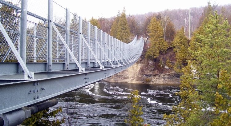Ranney Gorge Suspension Bridge, the most well-known attraction in Northumberland County