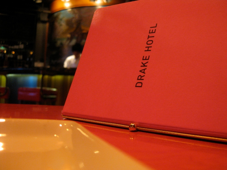 Menu at the Drake Hotel restaurant, one of the places you can go in Toronto on Christmas Day