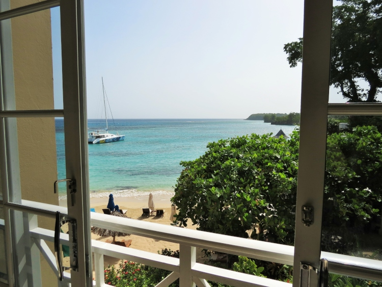 The view from our room at Sandals Royal Plantation which is next door to Sandals Ochi)