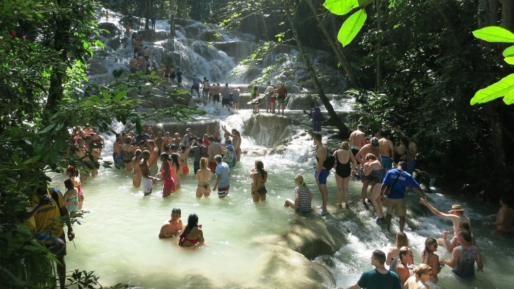 Climbing Dunn's River Falls, which is the most famous thing to do in Ocho Rios, Jamaica