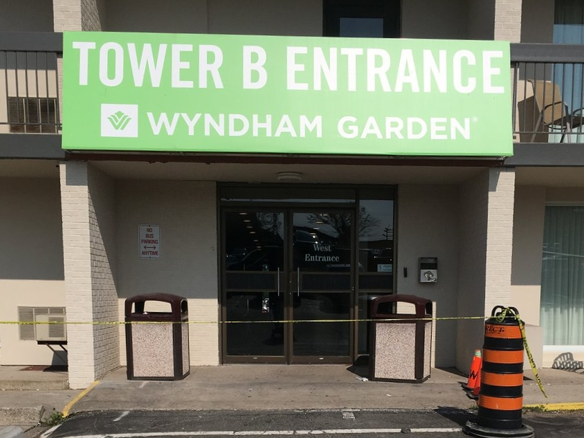 "The entrance to Tower ""B"" - Wyndham Garden Niagara Falls Fallsview Hotel Review"