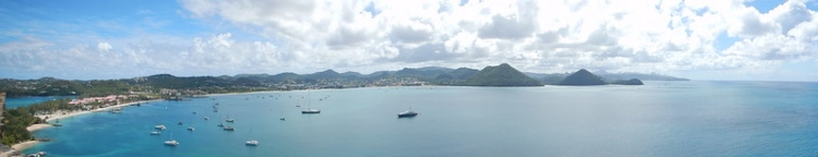 A panoramic view of Rodney Bay - things to do in St. Lucia