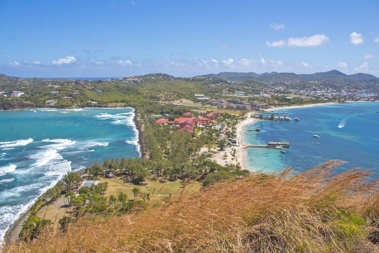 Reduit Beach on the Caribbean Sea (right) and the Atlantic Ocean (left) - things to do in St. Lucia