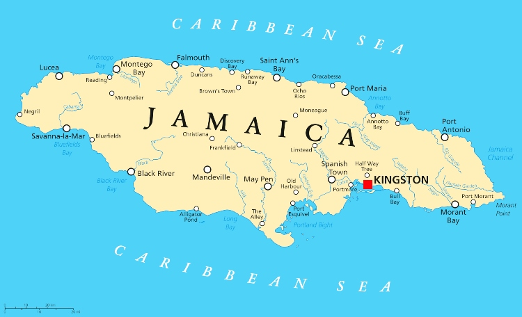 Facts About Jamaica - map