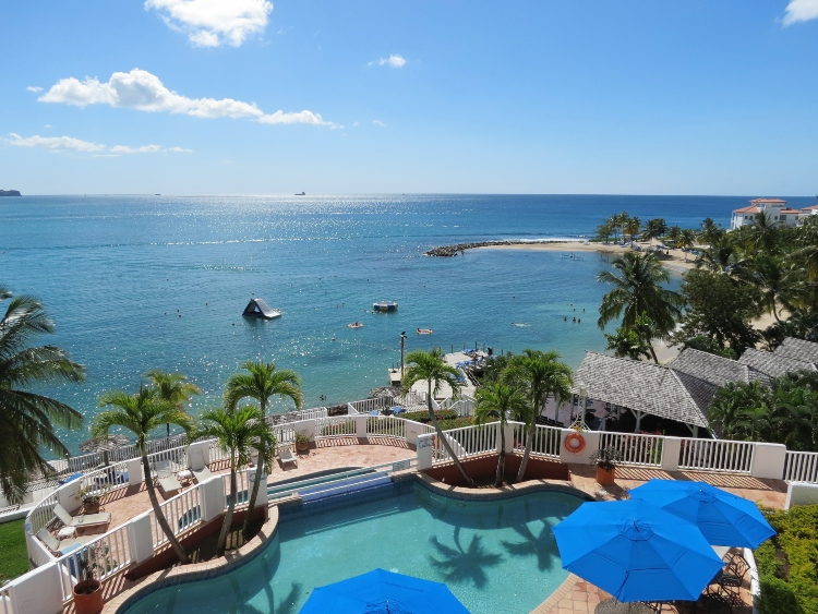 The view from our room on Hibiscus Lane at the Windjammer Landing