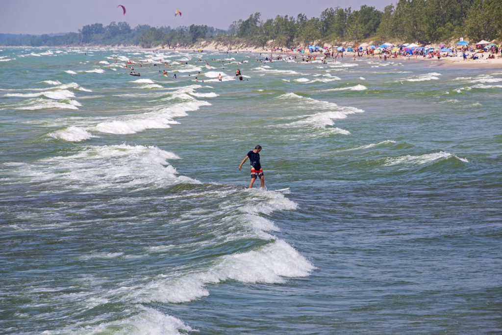 Lake surfing at Sandbanks in Prince Edward County, one of the best Ontario wine regions